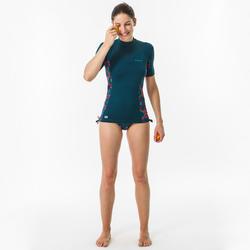 Uv-werende rashguard met korte mouwen voor surfen dames 500 Supai Zenith