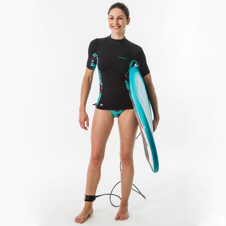 Women's surfing anti UV short sleeve T-shirt 500 - black and koga Maldives