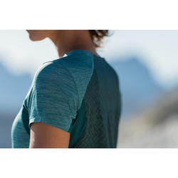 T-shirt voor fast hiking Dames FH500 Helium Blauw