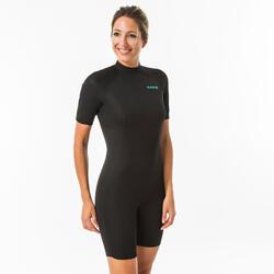 Fato surf shorty em neoprene para mulher com espuma de 1,5mm fecho dorsal preto