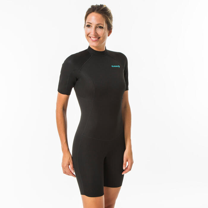 Neopreen surfpak shorty 100 voor dames 1,5 mm zwart