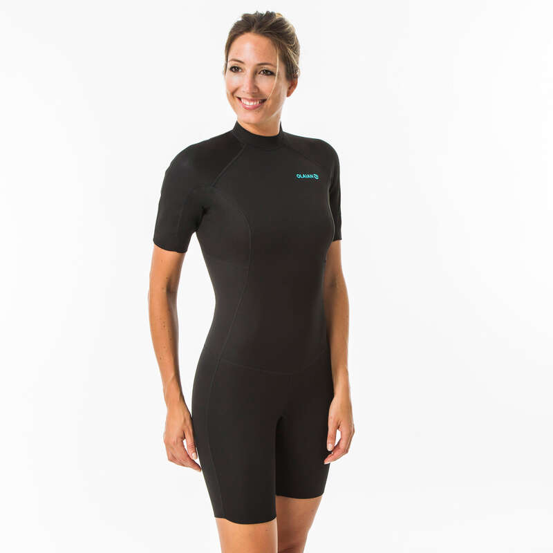 WARM WATER SPRINGSUIT Surf - Black surfing shorty SRTY100 W OLAIAN - Wetsuits