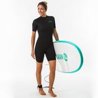 Neopreno Surf Corto Mujer Olaian 100 Negro 1,5 mm.