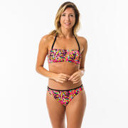 Top Bikini Bandeau Surf Mujer Olaian Lori Relleno Copas Estampado Rosa