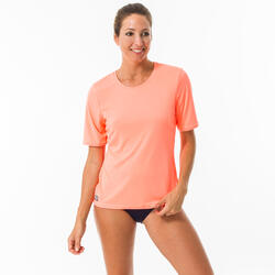 T-shirt Aquática anti-UV Surf Mulher Coral Fluorescente