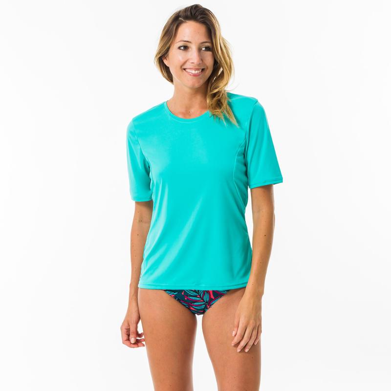 WATER T-SHIRT anti-UV short sleeve women's turquoise