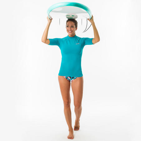 tee shirt anti uv surf top 100 manches courtes femme turquoise