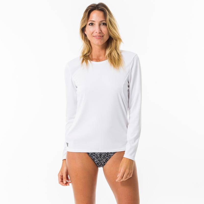 Camiseta Surf Protección SolarUPF50+ Manga Larga Olaian Mujer Blanca