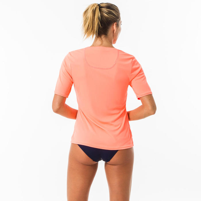 UV-Shirt kurzarm Surfen Damen neonkoralle