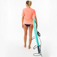 Water Playera Surf Mujer Coral Fluorescente Manga Corta Anti-UV