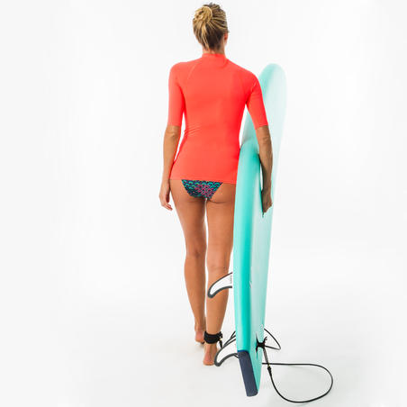 tee shirt anti uv surf top 100 manches courtes femme rose