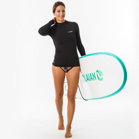 Women's Long-Sleeved UV-Resistant Surfing Shirt Black