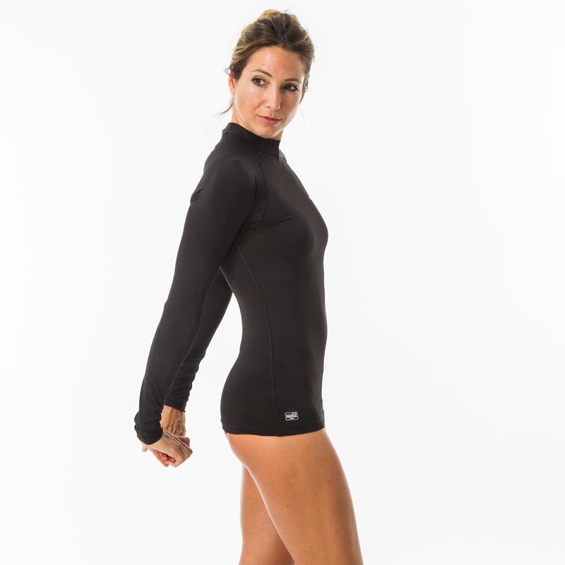 เสื้อโต้คลื่นแขนยาวมีคุณสมบัติป้องกันรังสียูวีสำหรับผู้หญิง (สีดำ)
