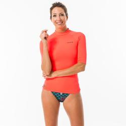 UV-Shirt Surfen Top 100 kurzarm Damen rosa