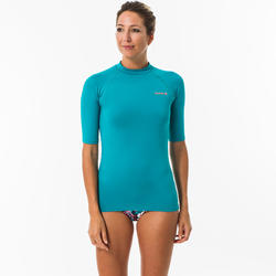 Camiseta anti-UV surf Top 100 manga corta mujer Rosa turquesa