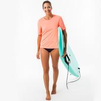 Sieviešu UV aizsargājošs īspiedurkņu sērfošanas T krekls, fluorescējošs koraļļu