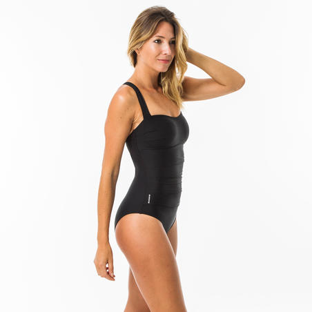 Dora Women's One-Piece Body-Sculpting Swimsuit with Flat Stomach Effect - Black
