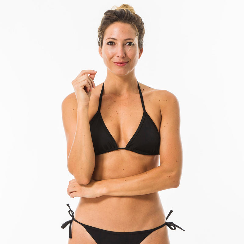 Mae Women's Plain Sliding Triangle Bikini Swimsuit Top - Black