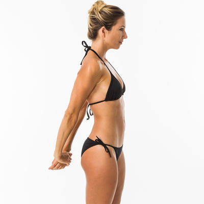 Calzón un solo color con lazos Bikini Surf Olaian Sofy Mujer Negro