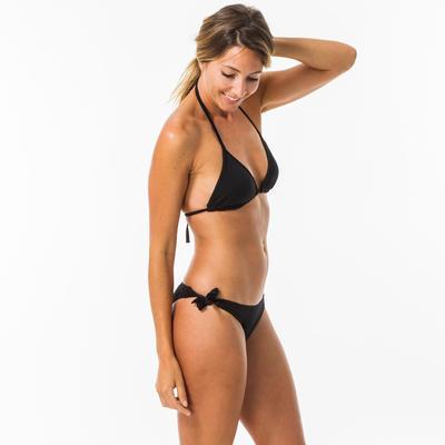 Top Bikini Parte sup Triángulos Almohadillas Surf Olaian Mae Mujer Negro