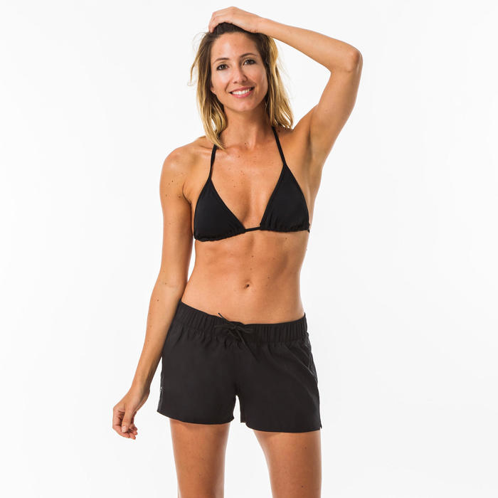 Mae Women's Sliding Triangle Swimsuit Top with Padded Cups - Black