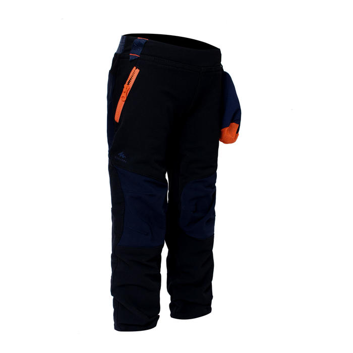 Kids' Hiking Softshell Trousers MH500 2-6 Years - Black