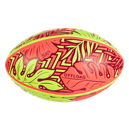 Beach Rugby Ball R100 Size 4 Tropical - Red/Yellow
