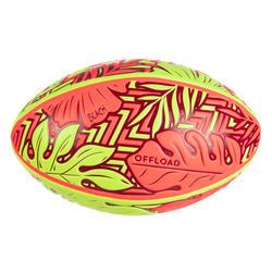 Rugbybal voor beach rugby R100 Tropical rood/geel maat 4