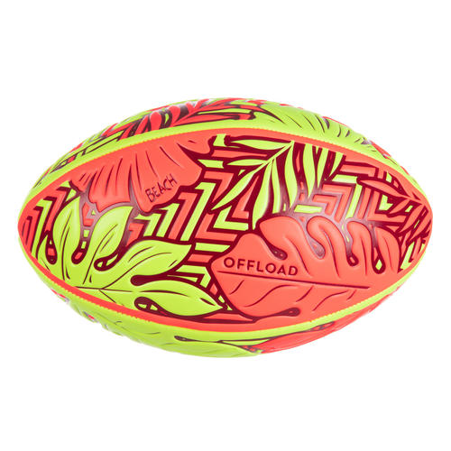Ballon de beach rugby R100 taille 4 Tropical rouge et jaune