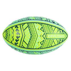 沙灘橄欖球R100 Midi毛利圖騰 - 黃綠配色