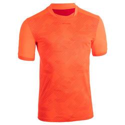T-shirt manches courtes entraînement de rugby Perf Tee R500 orange