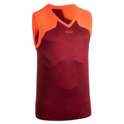 T-shirt de Rugby Sem Mangas R500 Homem Vermelho