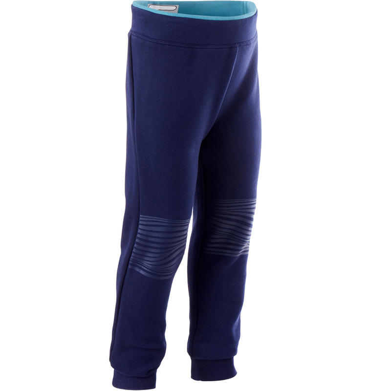 Ademende joggingbroek voor kleutergym slim fit blauw