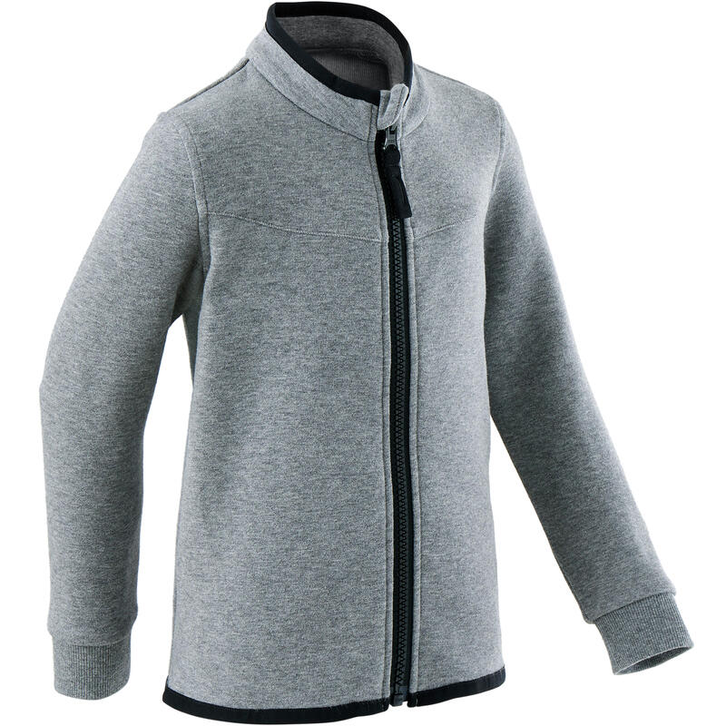 Girls' and Boys' Baby Gym Jacket 500 - Mid Grey/Black