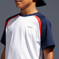 500 Kids' T-Shirt - White/Navy Blue