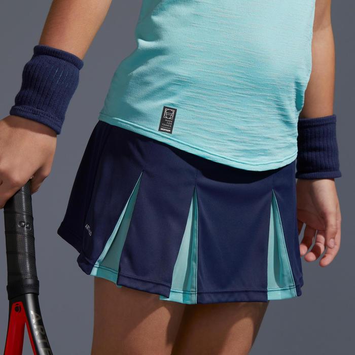 Tennisrok 900 meisjes marineblauw/turquoise