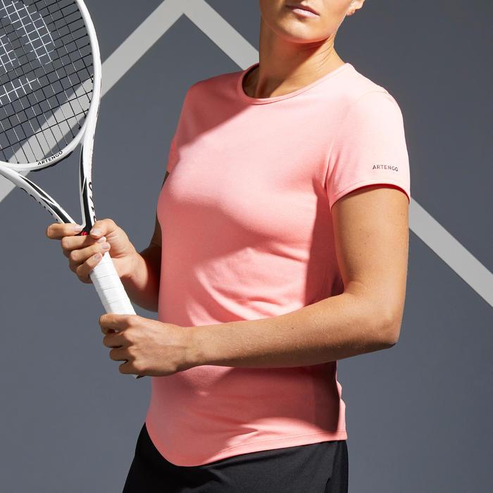 Tennis-T-shirt voor dames TS Dry 100 koraalrood