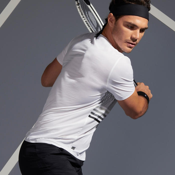TEE SHIRT DE TENNIS HOMME TTS 900 LIGHT BLANC NOIR