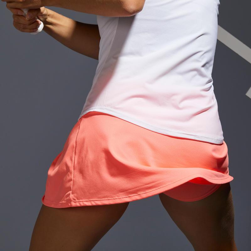 กระโปรงผู้หญิงสำหรับใส่เล่นเทนนิสรุ่น SK Soft 500 (สีส้ม Coral)