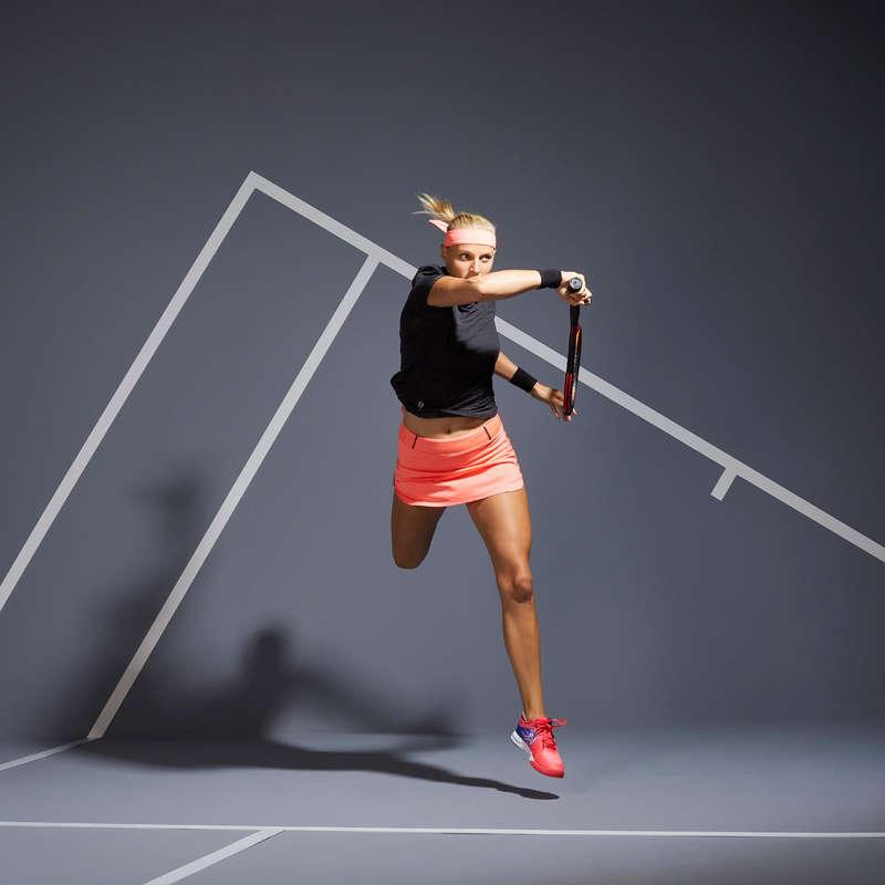 UBIÓR TENNISOWY NA KAŻDĄ POGODĘ DLA KOBIET Tenis - Koszulka TS LIGHT 990 CZARNA ARTENGO - Odzież do tenisa