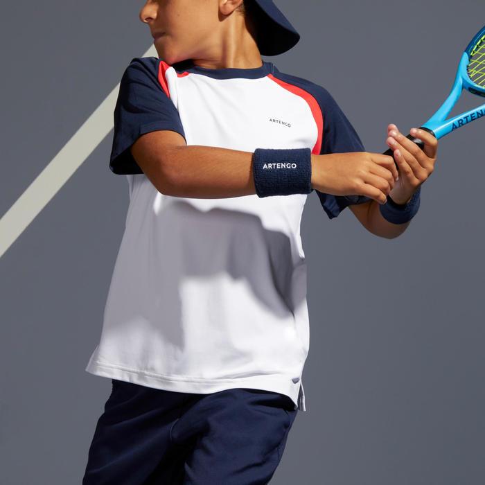 T-shirt voor kinderen 500 wit marineblauw