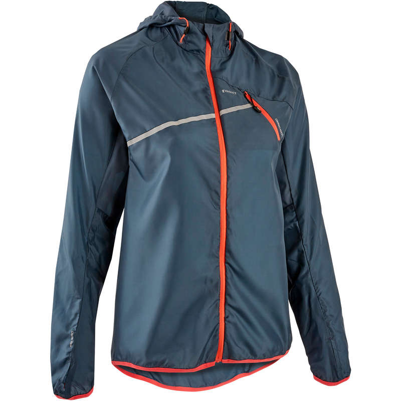 WOMAN TRAIL RUNNING CLOTHES Clothing - W WINDPROOF TRAIL JACKET GREY EVADICT - Tops