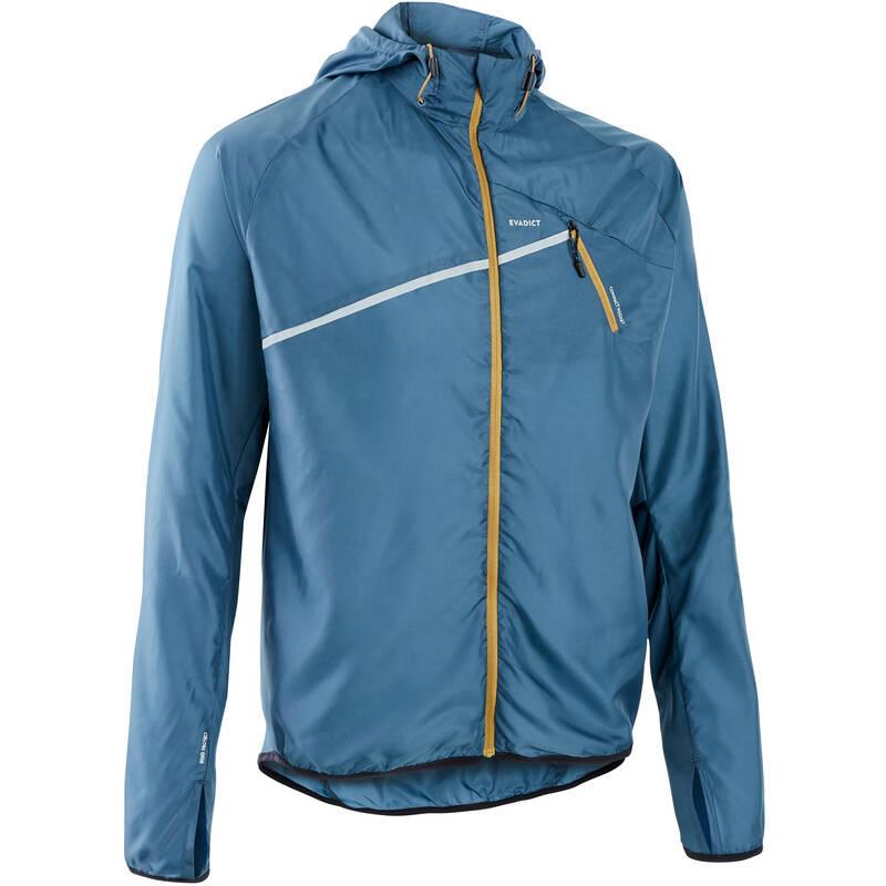 PÁNSKÉ TRAILOVÉ OBLEČENÍ Běh - VĚTRUODOLNÁ BUNDA ŠEDÁ  EVADICT - Běžecké oblečení