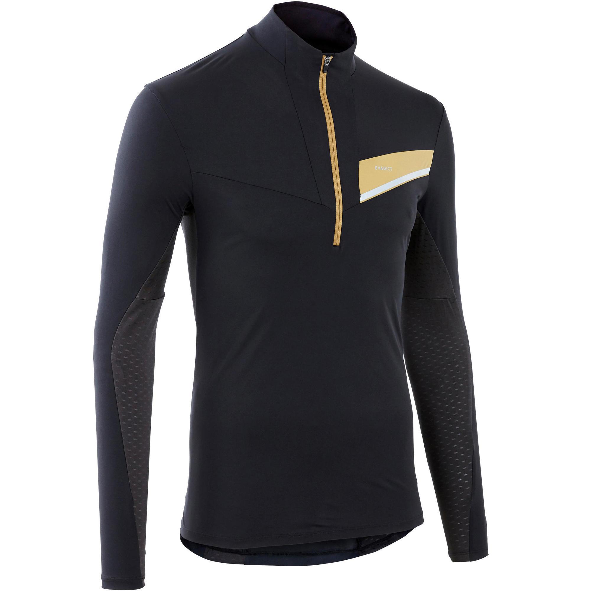 Laufshirt langarm Trail Herren schwarz/bronze | Sportbekleidung > Sportshirts > Laufshirts | Evadict