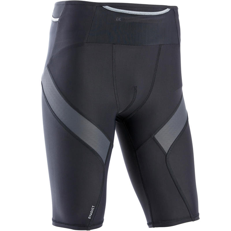 Men's Trail Running Tight Compression Shorts - Black/Grey