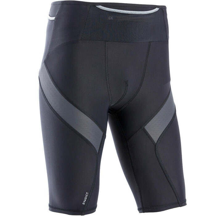 Men's Trail Running Tight Compression Shorts - black grey