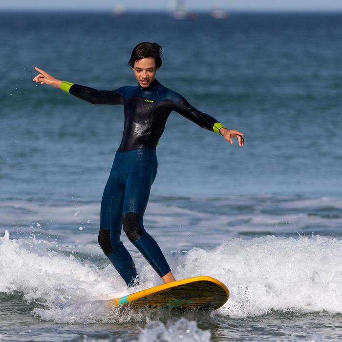 Combinaison SURF 500 Néoprène 4/3 mm enfant bleu jaune