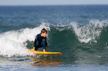 500 Child's 4/3 mm neoprene surfing wetsuit - Blue yellow