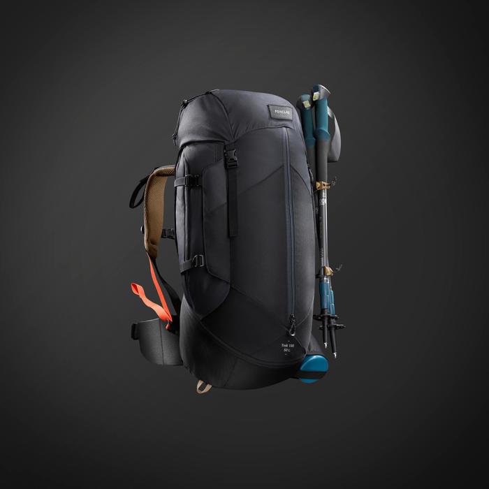 Mochila de Montaña y Trekking, Forclaz, Trek100 Easyfit 50L con funda, Hombre
