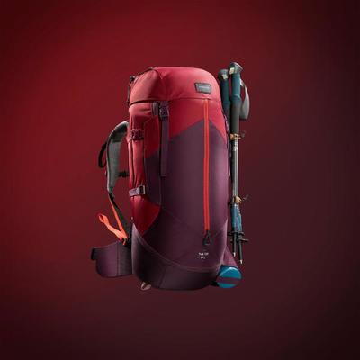 Women's Mountain Trekking Rucksack | TREK 100 EASYFIT 50L - red